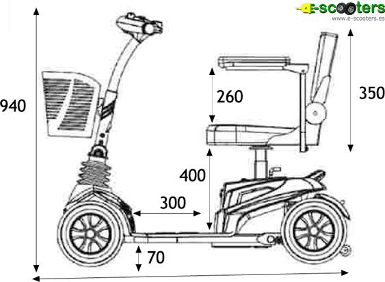 Medidas del Scooter eléctrico Pixie