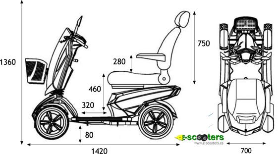 Medidas del Scooter eléctrico S12 Vita, compacto