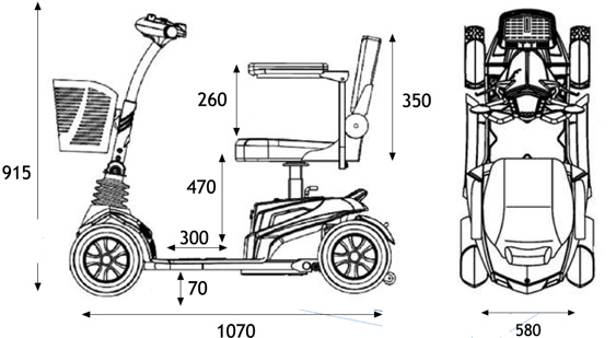 Medidas del Scooter eléctrico Zen